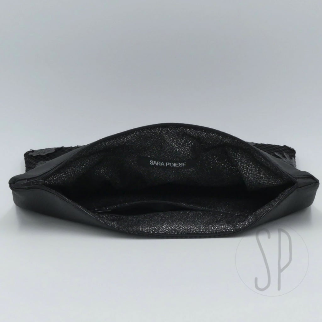 cover 03 flower leather clutch - sara poiese