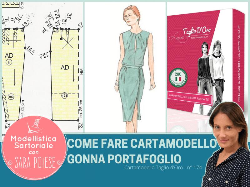 cartamodello gonna portafoglio - taglio d'oro modello 193 - tutorial modellistica in sartoria con Sara Poiese
